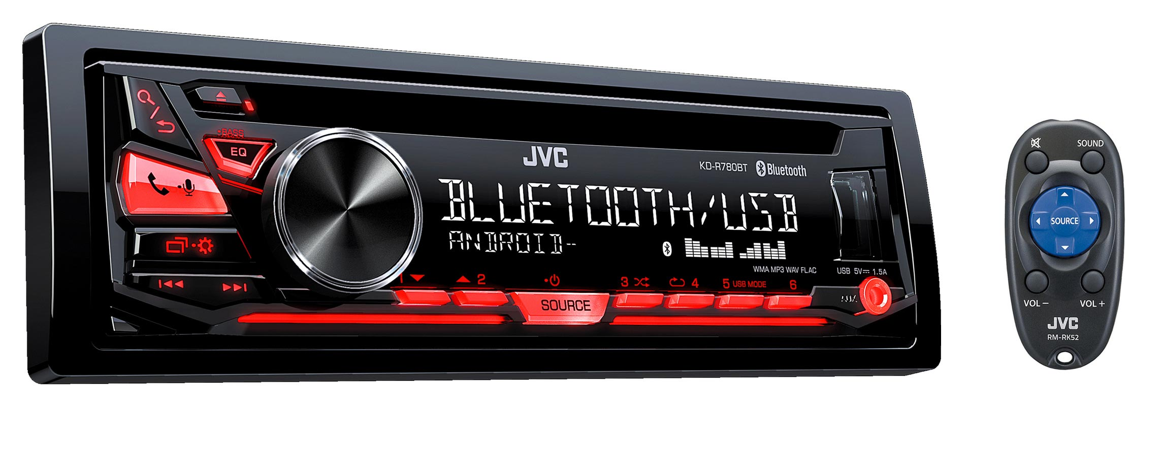 JVC Radio d'auto simple DIN lecteur CD Bluetooth KDR780BT
