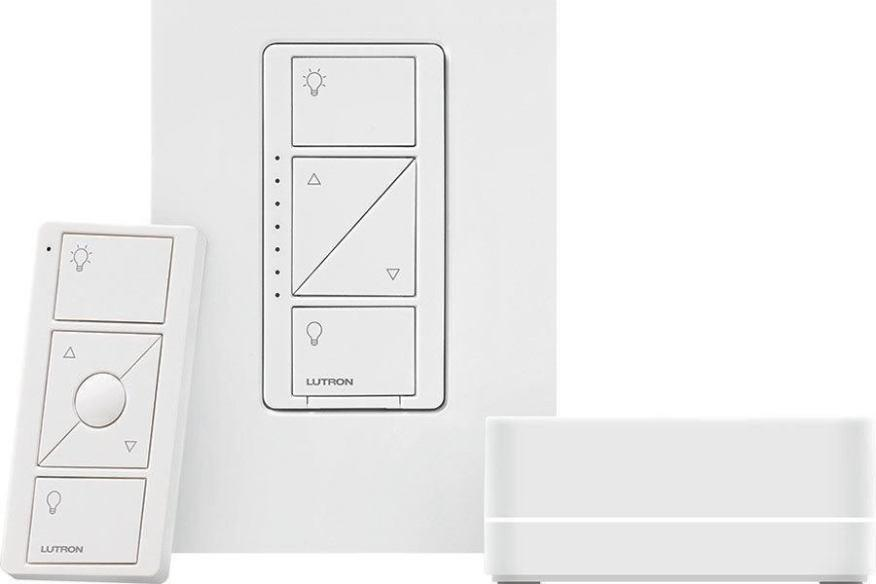 Lutron - Ensemble de démarrage Smart Bridge PRO avec gradateur mural - PBDGPROPKG1WC