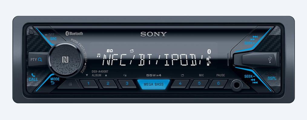 Sony - Radio d'auto Simple DIN Bluetooth NFC USB 4x 55W DSXA400BT