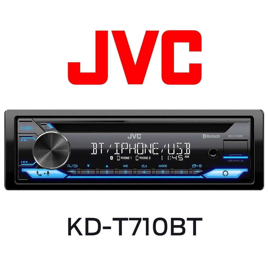 JVC - Radio d'auto CD Récepteur Bluetooth/USB/Amazon Alexa 22 watts RMS/4 canaux - KDT710BT