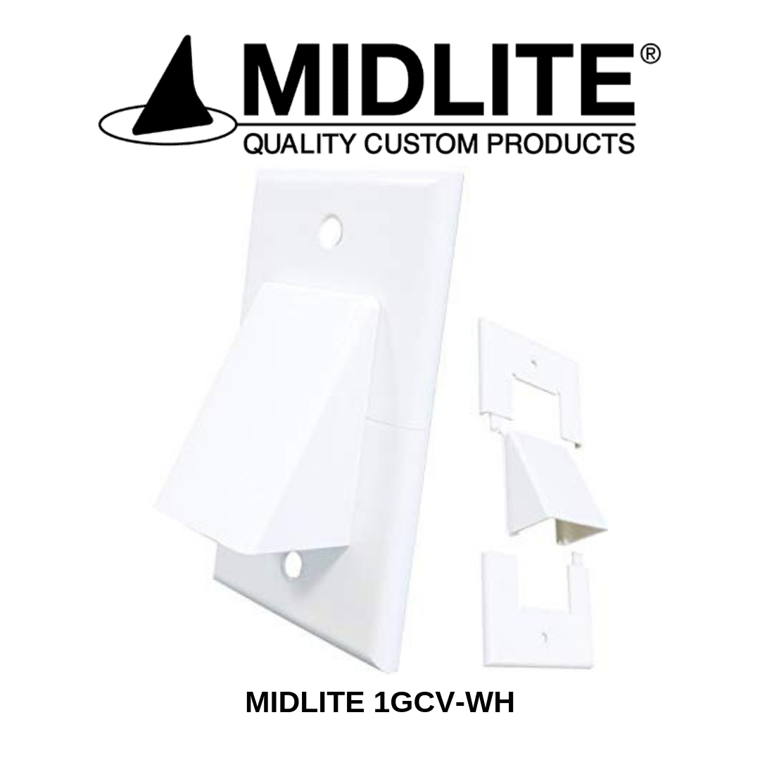 Midlite plaque de passage de câble simple blanc 1GCV-WH