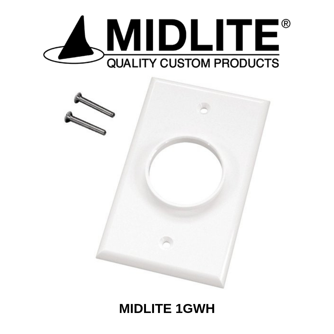 Midlite plaque Wireport simple blanche 1GWH