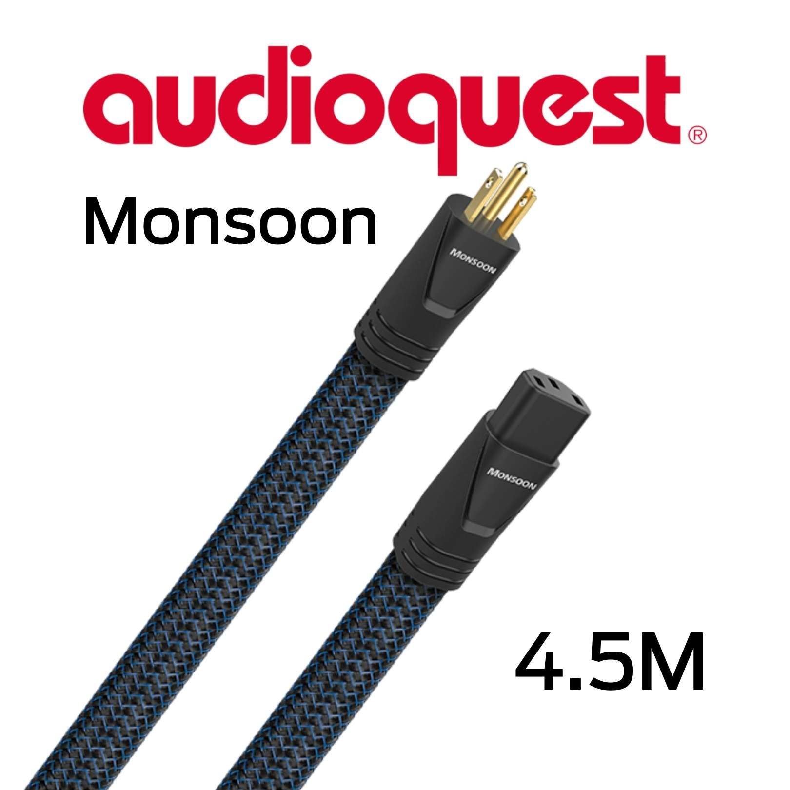 AudioQuest - Câble d'alimentation tripolaire 4.5M Calibre 12AWG 20 Amp@60HZ Monsoon450